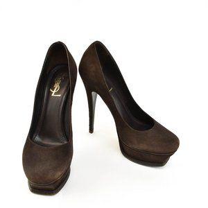 YSL: Dark Brown Suede Leather Platform Heels/Pumps